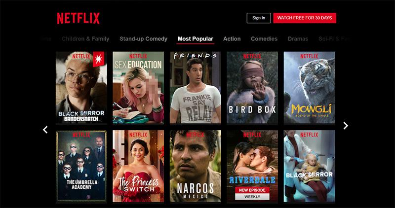Начальная страница сервиса Netflix